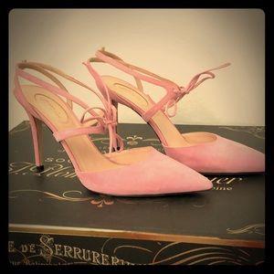 SJP Baby Pink Suede Heels sz 10